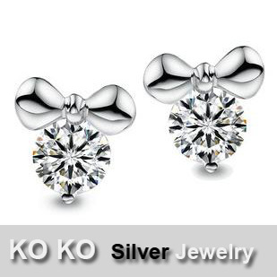 KO KO Silver Jewelry -- Genuine 925 Sterling Silver Stud Earrings Small Mouse Cartoon Korean Fashion Jewelry Wholesale