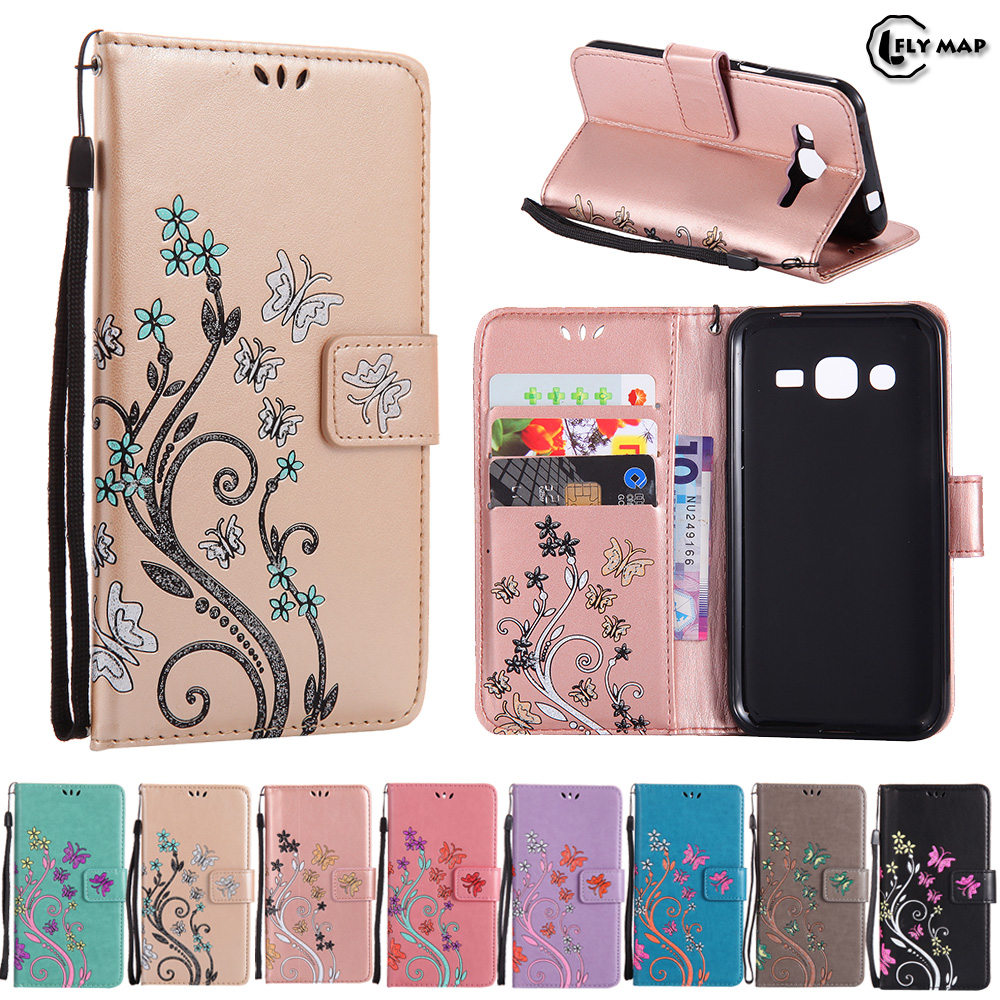 Butterfly Case for Samsung Galaxy J2 2015 J200 J200H Floral Leather Flip Cover Wallet Phone Case SM-J200H SM-J200M J200H/DS CapaButterfly Case for Samsung Galaxy J2 2015 J200 J200H Floral Leather Flip Cover Wallet Phone Case SM-J200H SM-J200M J200H/DS Capa