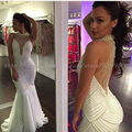 Vestido De Noiva Sexy Sheer Back Mermaid Full Pearls Wedding Dress 2016 Custom Made Sheer back Round Neck Dress For Wedding 2016