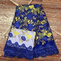 2017 French Bead Mesh Lace Fabric Blue Color African Lace Fabric Embroidered High Quality Guipure Lace