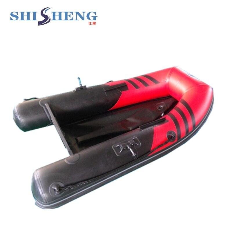 Petit bateau gonflable en caoutchouc rouge et noir CE pour la pêche