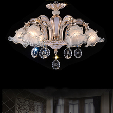 fashion chandeliers led crystal light for living room modern indoor lighting simple flush mounted led lamps 6 lights Frosted Gl t simple crystal fashion pendant light for dinging room home indoor lighting modern creative led chip lamps bar coffee shop