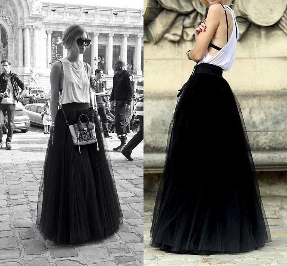 f21a90cabd Inglaterra estilo casual falda larga de tul princesa fairy style gasa de  tulle de la falda bouffant puffy moda negro faldas largas en Faldas de La  ropa de ...
