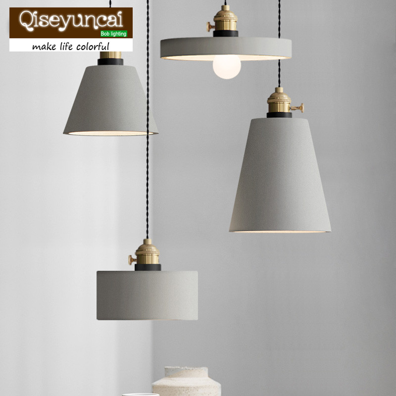 Qiseyuncai American retro personalized coffee shop lights creative bar cement restaurant single head Chandelier vintage clothing store personalized art chandelier chandelier edison the heavenly maids scatter blossoms tiny cages