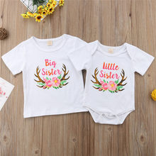 Kids Baby Girls Matching Big Little Sister Romper T-shirt Outfits New Born Baby Girl Romper Novelty Short Sleeve Letter Print(China)