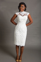 High Neck Cap Sleeves Lace Appliqued Short Wedding Dresses Plus Size Knee Length Pearls Bridal Dress