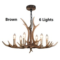 Retro American Country Antler Chandelier Resin Antlers chandelier lighting industrial lustres Villa Hotel Clothing Nordic Lamp