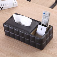 Leather Tissue Box Napkin Contaciner Large Desk Collection Set Home Office Cases Desktop Table