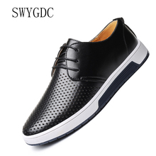 SYWGDC Men Casual Leather Shoes Summer Breathable Holes Men Shoes Solid Lace-up Flats Handmade Men Footwear Big Size 38-48 mrhippies men shoes 2017 men casual shoes summer breathable lace up flats fashion light male footwear big size 45 48