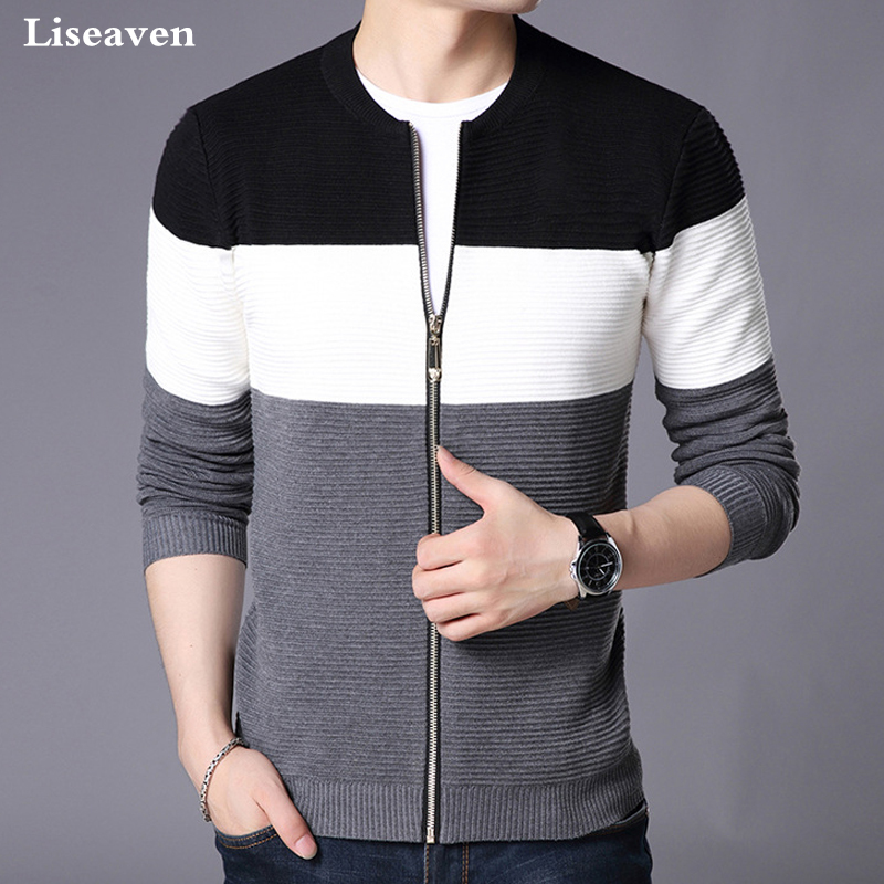 Liseaven Men's Jacket New 2018 Fashion Long Sleeve Sweaters Zipper Knit Sweater Cardigans
