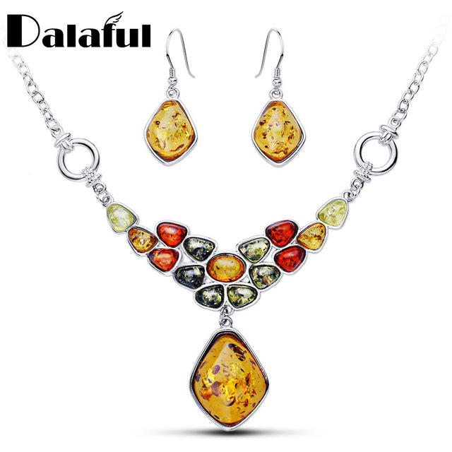 Beautiful Multicolor Baltic Synthetic Honey Pendant Necklaces Dangle Earring Flower Wedding Jewelry Sets L41401D