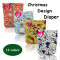 5PCS Double rows baby cloth diaper nappy printed pul suede cloth  inner  color snaps wholesale selling christmas design diaper