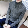 Autumn / winter dress casual solid color turtleneck pullover men knitted sweater men pull homme men's clothing size m-5xl TTS9