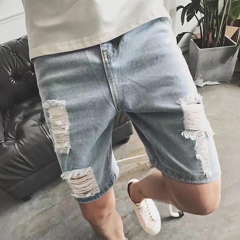 New Style Men Hole Five Denim Pants Men's Korean Style Trend Slim Leisure Casual Male Pants Summer Dress Streetwear
