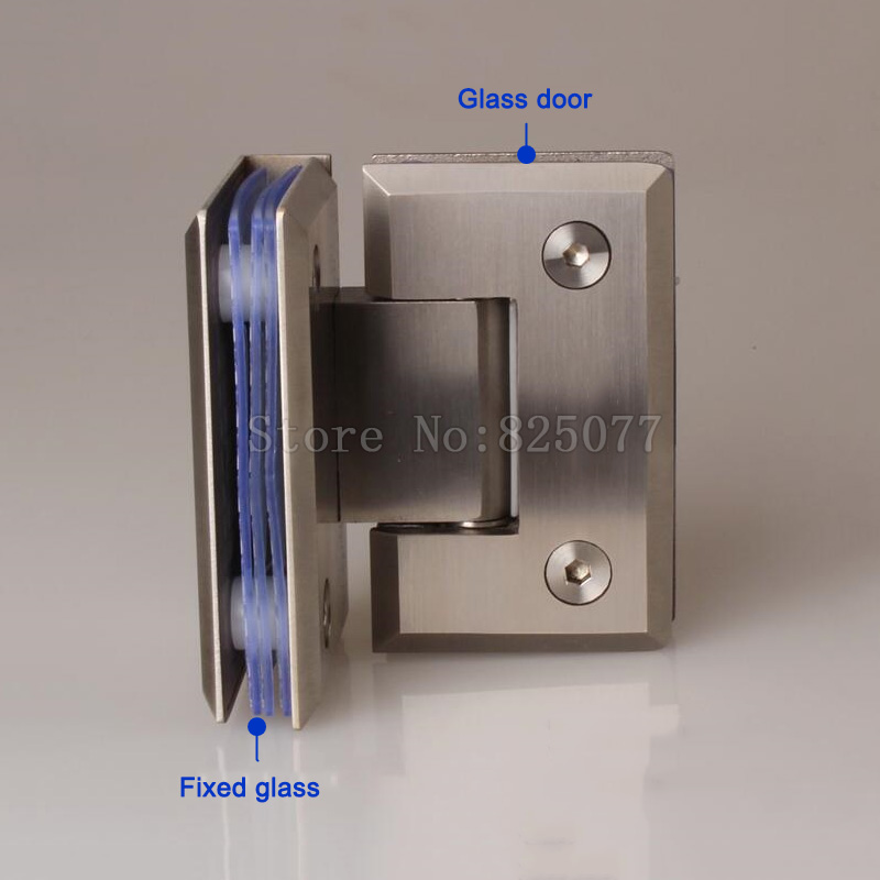 2PCS Solid stainless steel 90degrees glass hinge double sided bathroom door hinge shower glass door hinges JF1630 in Door Hinges from Home Improvement