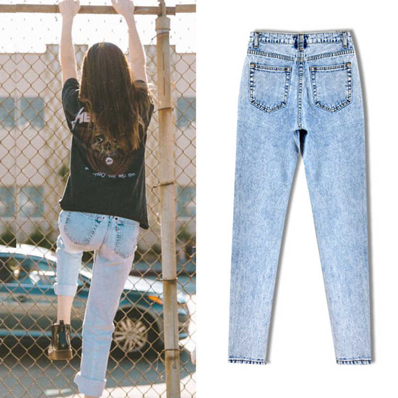 2017, the latest, fashion trends, Europe and the United States women's BF street snow high waist loose straight denim trousers have a large size of nine pants new clothes, (7)