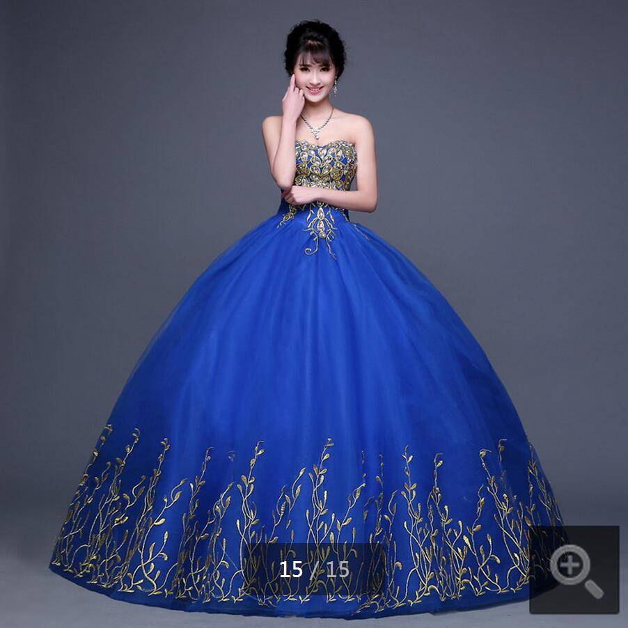 Ball Gown Embroidered Wedding Dress: 2016 Royal Blue Hot Sale Ball Gown Embroidery Wedding