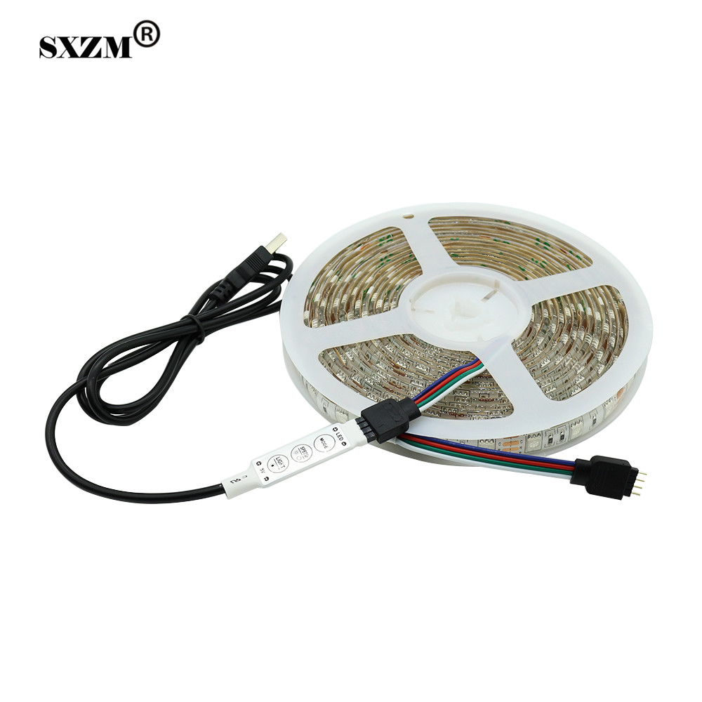 SXZM 5Meter 5V USB 5050 RGB LED flexible strip light waterproof 60leds/M for PC Desktop Laptop Background indoor or outdoor