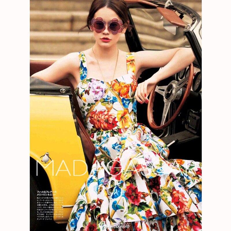 Primavera/estate 2018 di modo Siciliano dell'annata della stampa della bretella con un sottile foglia di loto vestito dalla torta splendido di alta qualità