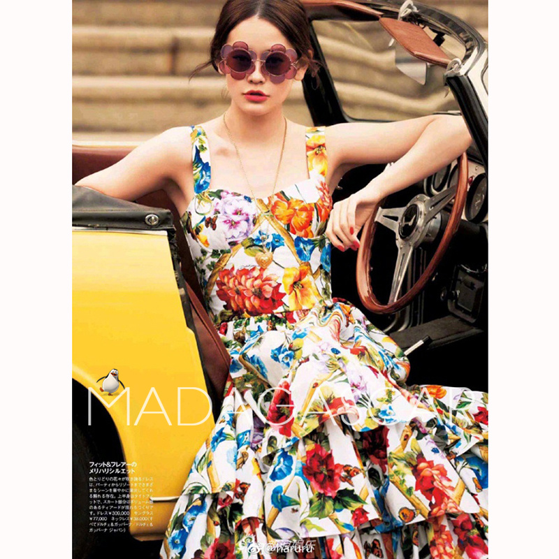 Spring/summer 2018 fashion Sicilian vintage print suspender with a slim lotus leaf cake dress gorgeous The high quality