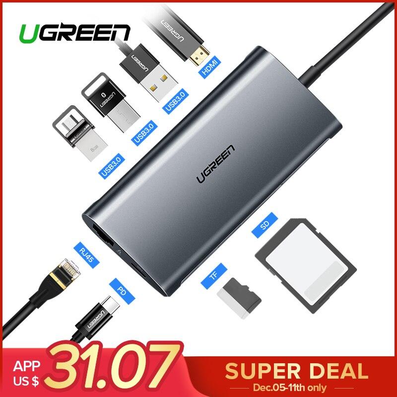 Ugreen USB HUB USB C a HDMI RJ45 Thunderbolt 3 Adattatore per MacBook Samsung Galaxy S9 Huawei Mate 20 P20 pro di Tipo C USB 3.0 HUB