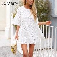 JaMerry Hollow out lace white dress women Flare sleeve loose short dress summer Spring 2019 high waist mini dress vestidos femme