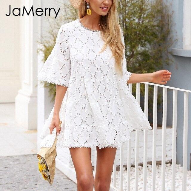 premium selection 55801 aa4af JaMerry Scava fuori pizzo bianco delle donne del vestito manicotto Chiarore  allentato abito corto Primavera estate 2019 a vita alta mini abiti femme