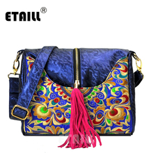 ETAILL High-end PU Embroidered Women Shoulder Messenger Bag Ladies Ethnic Chinese National Party Casual Bag with Pink Tassel etaill chinese embroidery single messenger bag women s fashion leisure crossbody bag canvas ethnic boho embroidered women bag