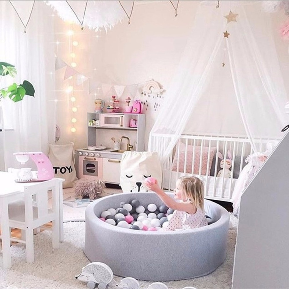 children's Fencing Manege tent Grey Round Play Pool Baby Ocean Ball Pool Pit Playpen For Kids Playground Game Tent Birthday Gift