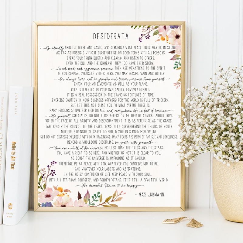 Max Ehrmann Poem Desiderata Poster And Print Watercolor Flowers Literature Canvas Painting Wall Art Picture Home Office Decor image