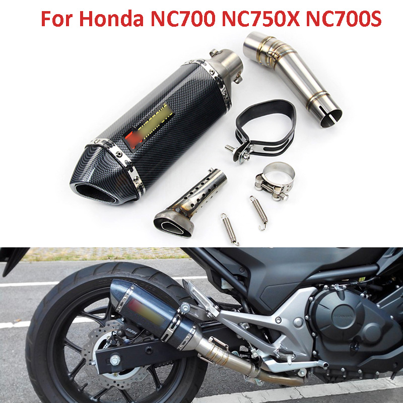 For NC700 NC750X Motorcycle Modified Full System Exhaust Mid Link Pipe Motorbike Muffler With DB Killer
