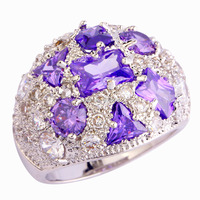 New Gorgeous Lady Amethyst White Topaz 925 Silver Ring Size 7 8 9 10 For Women Luxury High Quality Jewelry Wholesale Free Ship