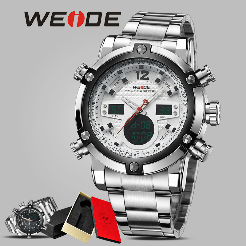 WEIDE Original Product watch stainless steelin quartz watches date digital led white analog water resistant  luxury sport watch weide men watch quartz contracted watch stainless steel date sport in digital watches led round big dial luxury fashion casual