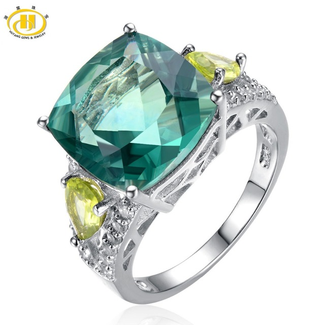Hutang-Коктейль Кольцо-Natural Green Флюорит & Перидот Твердые Стерлингового Серебра 925 женщин Кольца Партия Высокое Качество Fine Jewelry