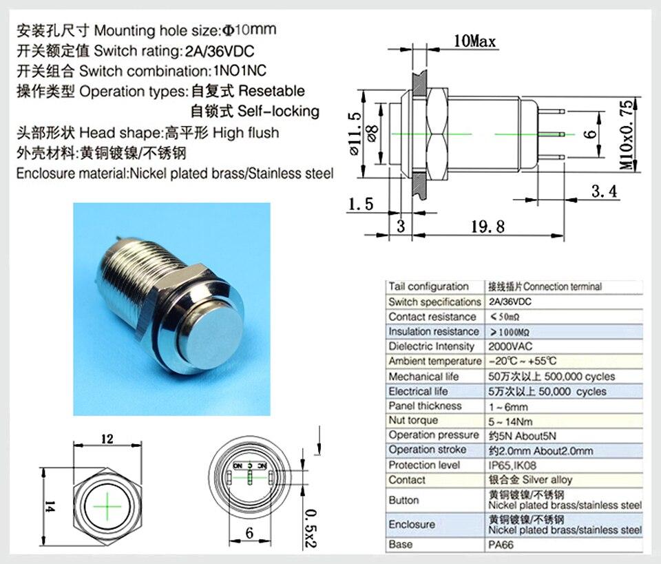 20 pcs 12 mm étanche momentanée On//Off Bouton Poussoir Mini Round Switch Green