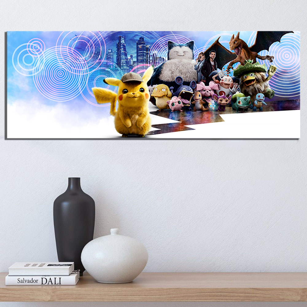 Wall Art Poster Canvas Prints 1 Pcs Pokemon Detective Pikachu Pocket Monster Cartoon Modular Pictures Modern Home Bedroom Decor