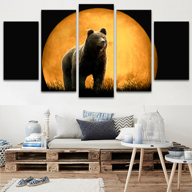 Home Decor Living Room Modular Pictures 5 Panel Full Moon Black Bear ...