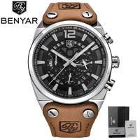 3ATM Water Resistant Chronograph Men Business Genuine Leather Band Pin Buckle Wrist Watch Male Date Quartz