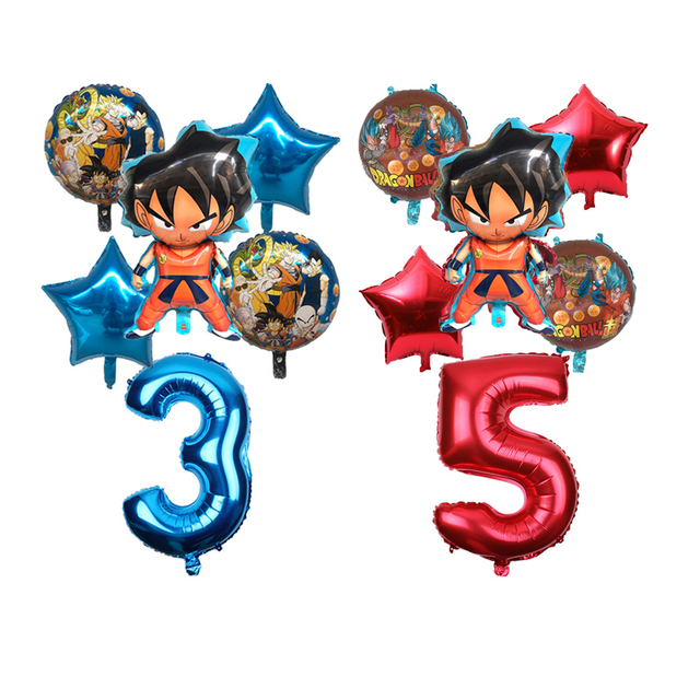 6pcs/set Cartoon 7 Dragon Ball Goku Foil Balloon 32inch Number Balloon Set Happy Birthday Party Decoration Kids Toy Campus Party