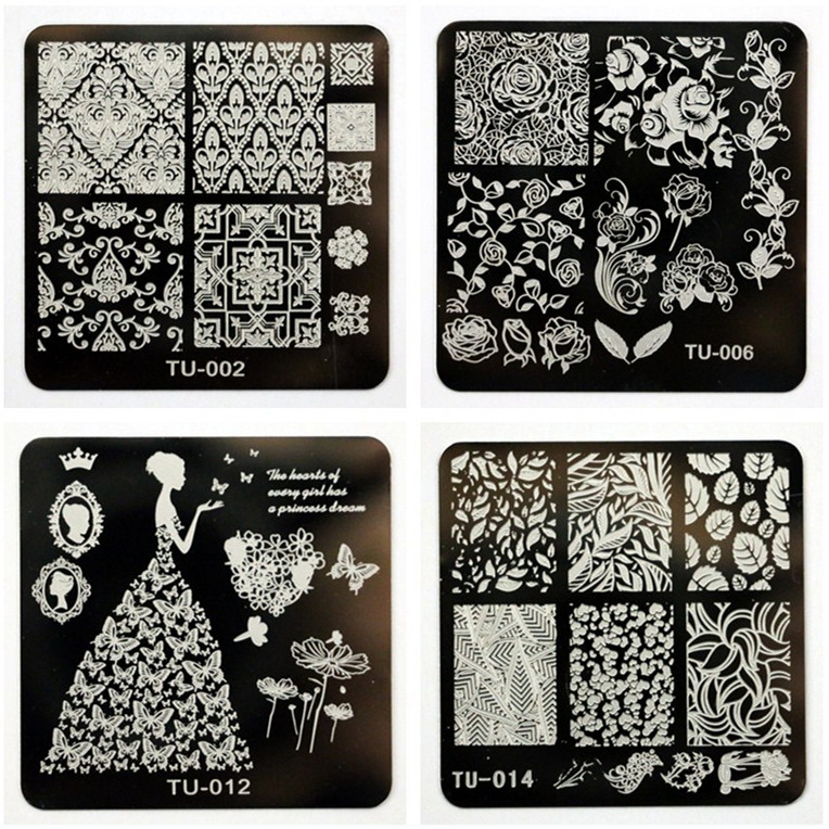 1 Pcs New Arriving 6cm Tu Series Beauty Flower Nail Stamping Plates