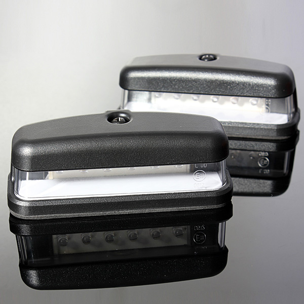 2x LED License Rear Number Plate Light Truck Trailer Lamp 10-30V E11 Caravan VAN 6LED Emark Waterproof vehemo vehemo 10 30v 4 led tail number license plate light lamp truck trailer waterproof