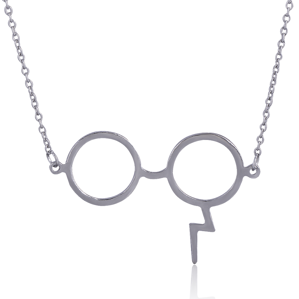 QIYIGE Fashion jewelry lightning Glasses Necklace Z Shape Scar Magic Pendants For Fans Best Movie Gifts