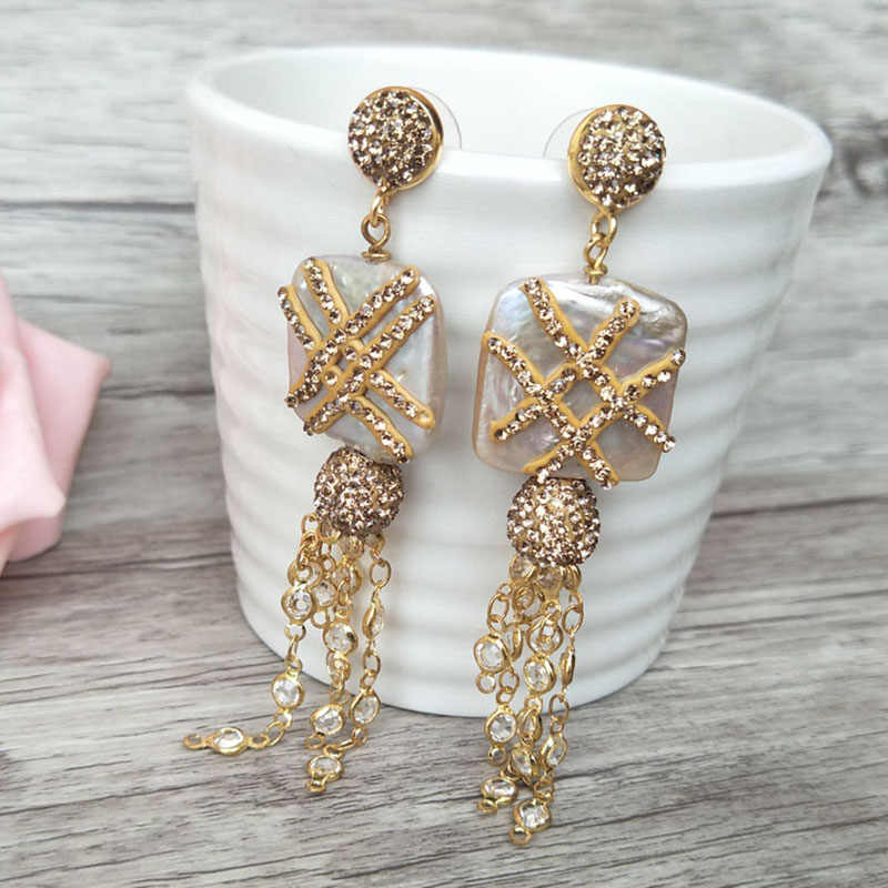 5 Pairs Handmade Alloy Tassel Dangle Earrings,Pearl  Chains with Pave Rhinestone Earring Jewelry For Women Earrings ER337