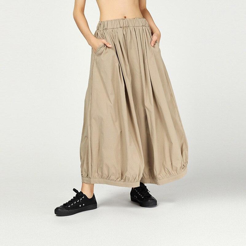 LANMREM 2019 New Summer Bottoms Ankle Length Pants Fashion Women Cloth Vintage Loose Elastic Waisc Wide