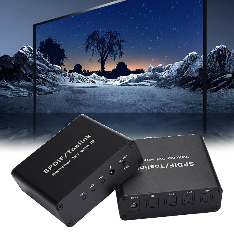 New Hot 3 Port Switch Digital Optical Audio Switcher With IR Remote Control 3 In 1 Out Switcher