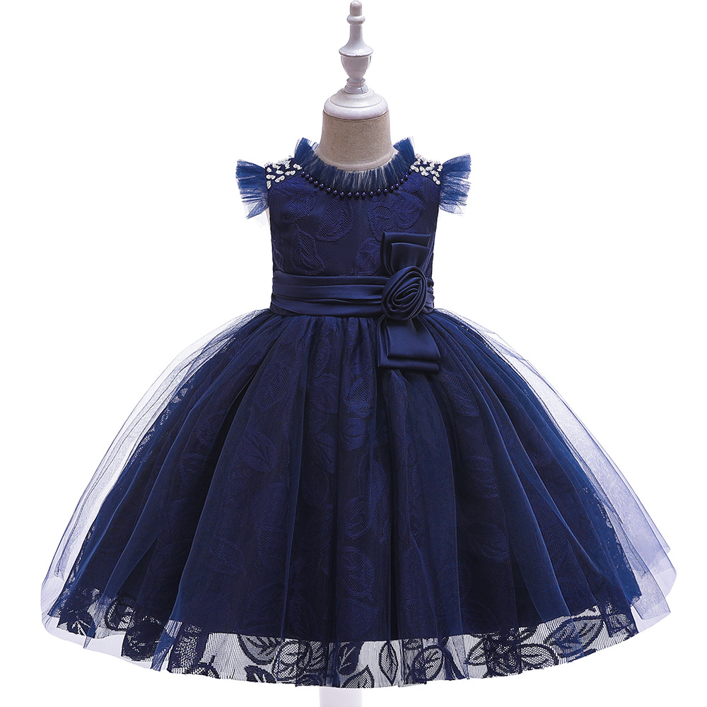 New Style Ruffled O Neck Navy Blue Cheap Flower Girl Dresses 2019 In Stock Ballgown Princess Little Girls Evening Party Dresses