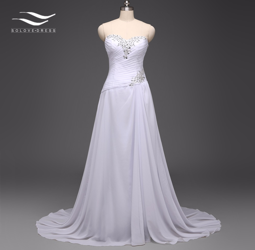 Solovedress elegant a line real photo cheap beach wedding Inexpensive beach wedding dresses