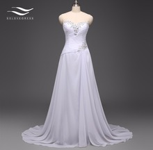 Solovedress Elegant A Line Real Photo Cheap Beach Wedding Dress Sweetheart Chiffon Beaded Bridal Gown vestido de noiva HPD-W11