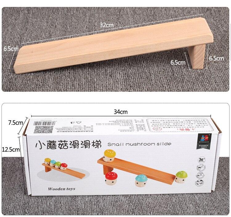 Купить с кэшбэком Solid wood children's puzzle Montessori early childhood baby 1-3 years old toy mushroom slide infant hands-on toy Desktop games