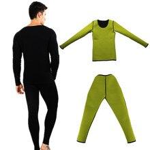 Moldeadores de cuerpo de manga larga pantalones de neopreno para hombre Sauna pérdida de peso cintura entrenamiento adelgazante Shapewear Fitness estiramiento